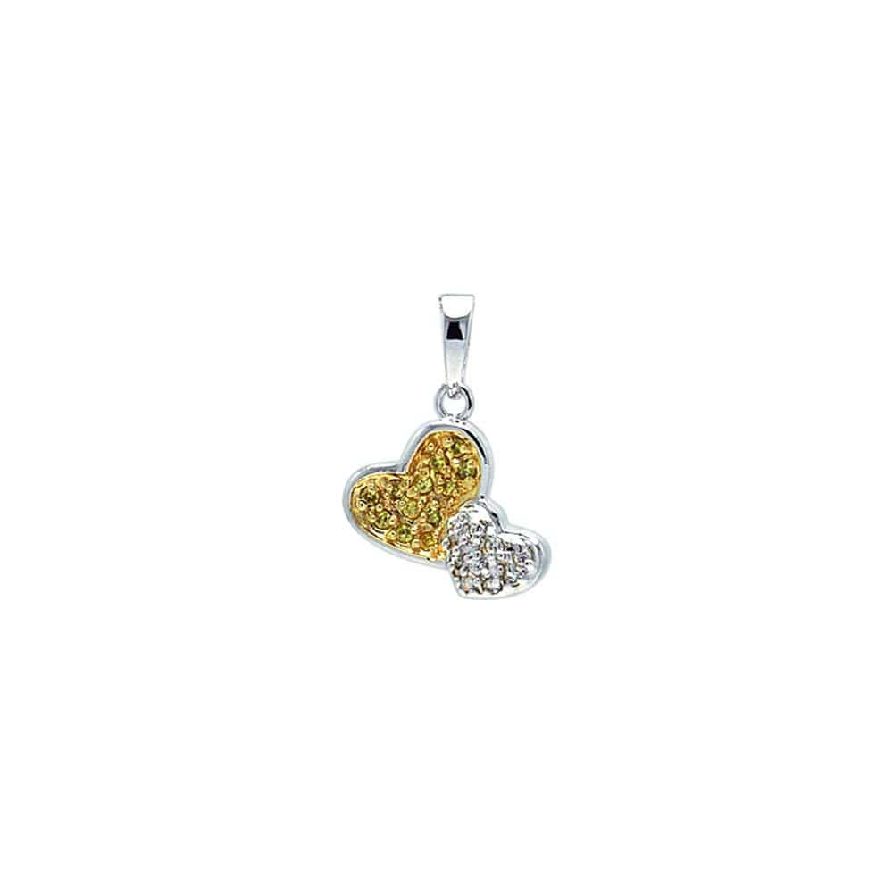 Pendant Two Toned Heart Dangling Necklace