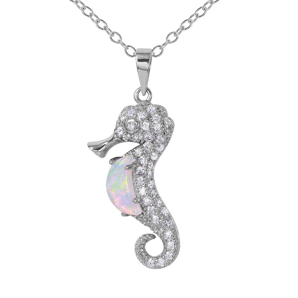 White Opal Sea Horse Pendant Necklace