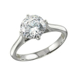 Ladies Solitaire Silver Ring