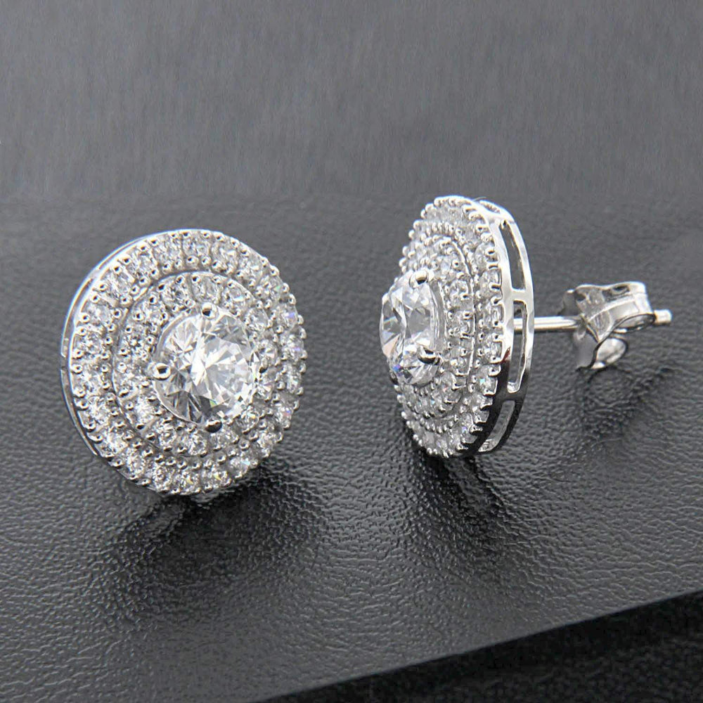 Double Halo Stud Earrings
