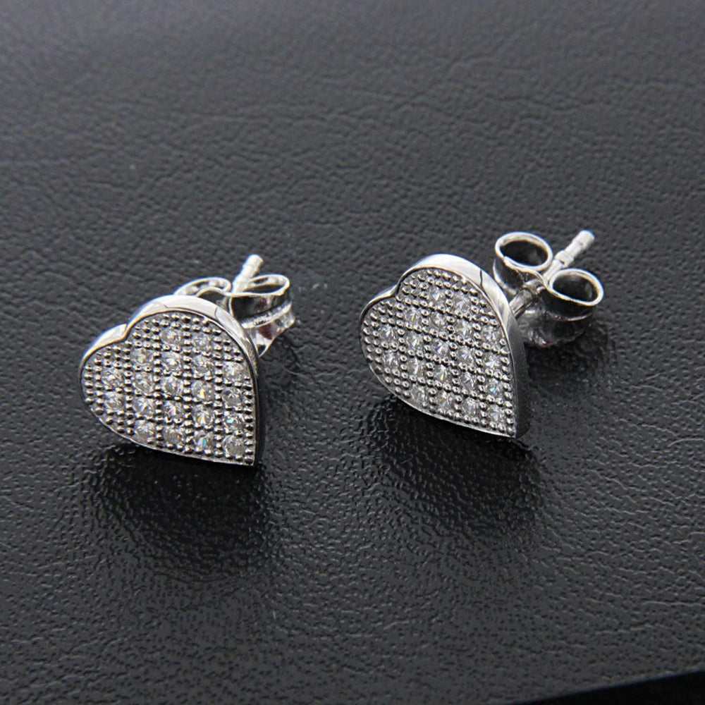 Heart Shape Sterling Silver Stud Earrings