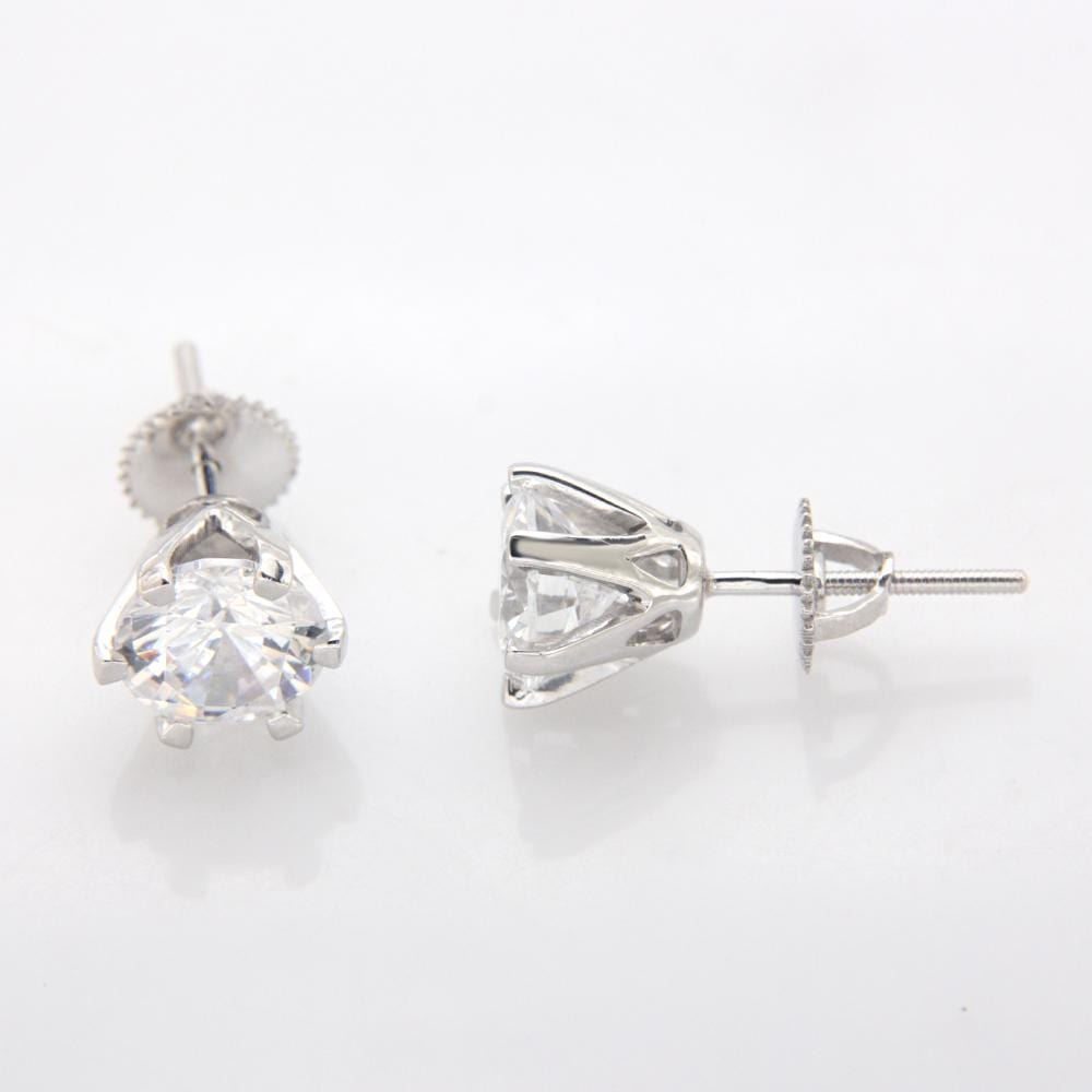 Studs Diamond Solitaire Screw Back Stud Earring