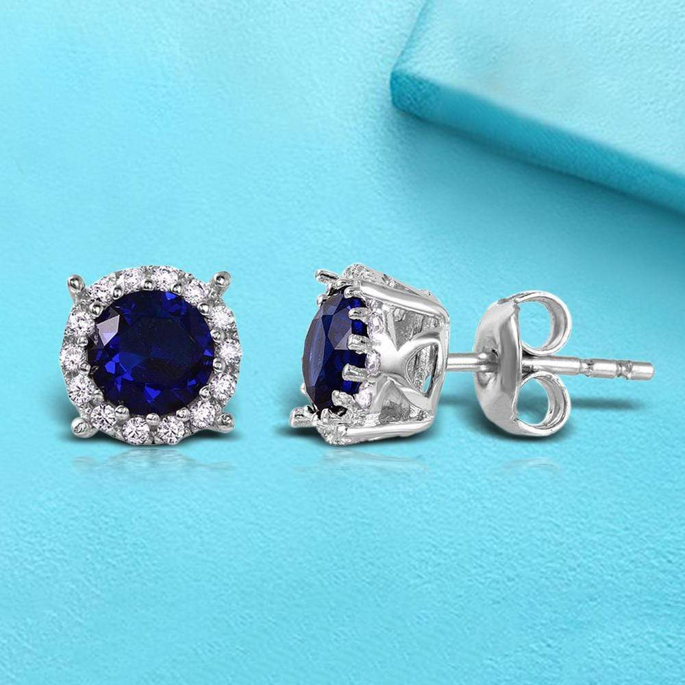 Studs Halo Studs with Sapphire