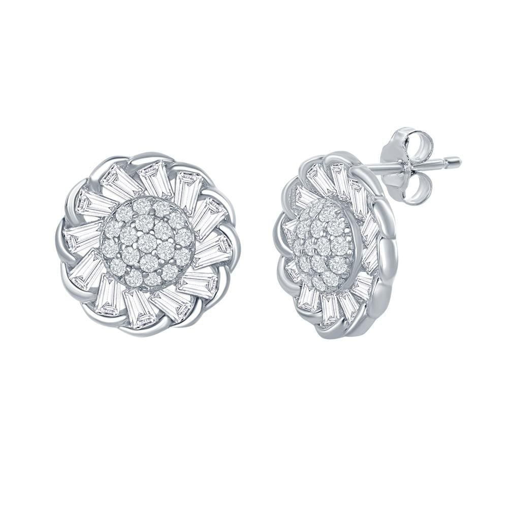 Studs Micro Pave Flower Design Stud Earrings Micro Pave Flower Design Stud Earrings Sterling Silver