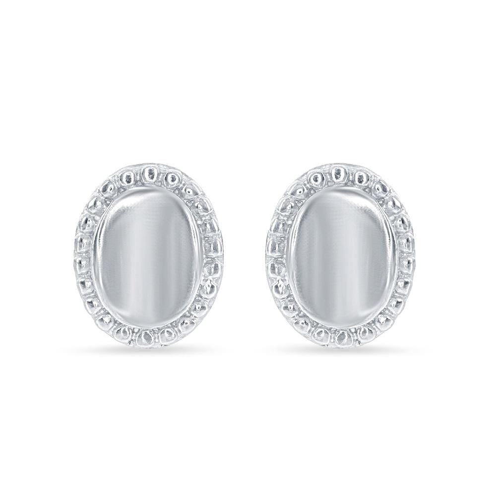 Oval Beaded Border Stud Earrings