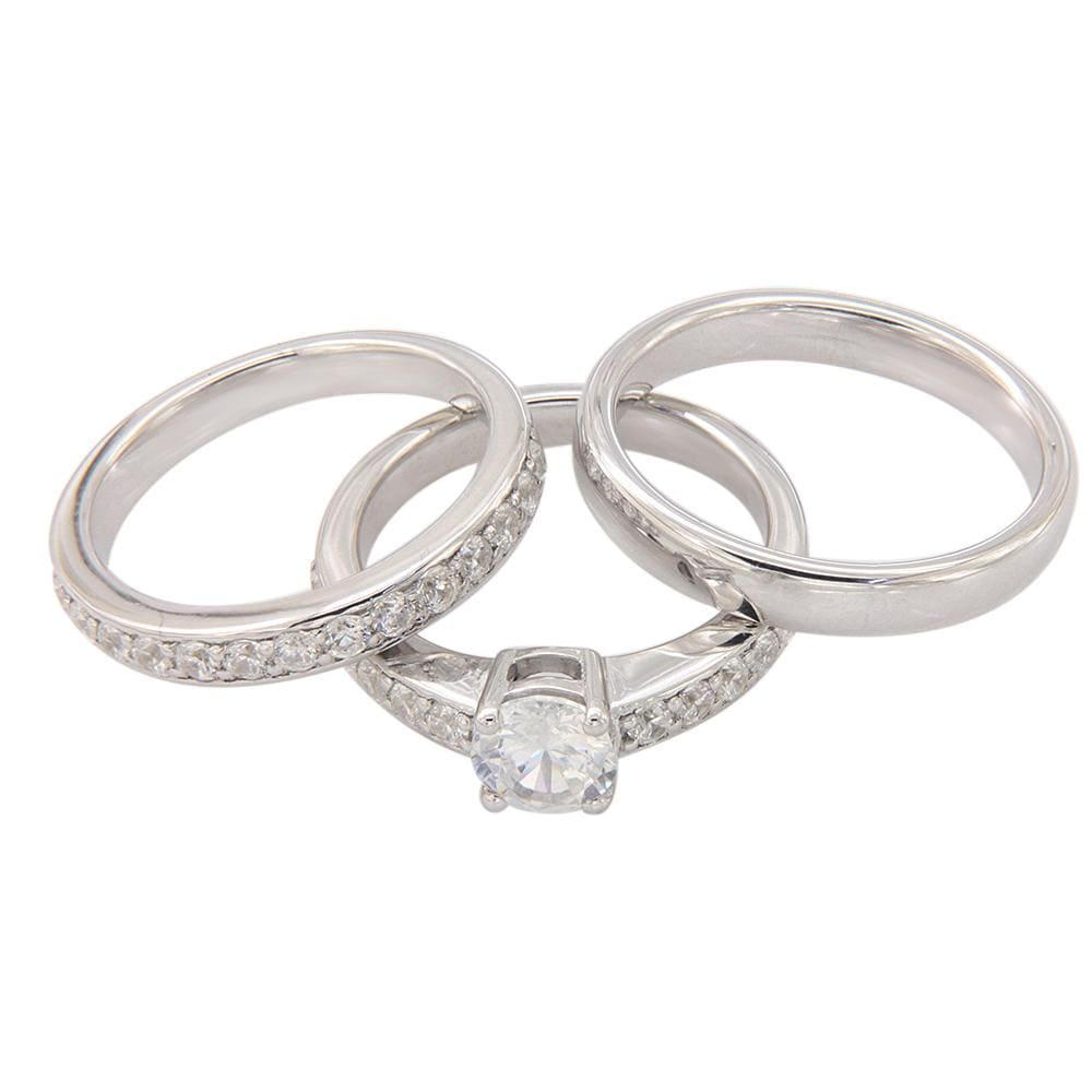 His & Her Engagement Trio Ring Set