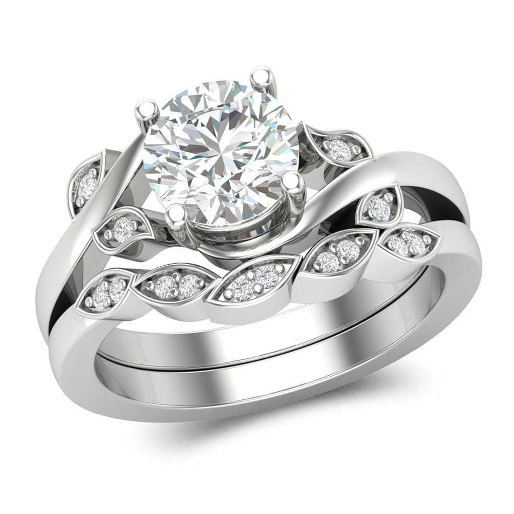 Vintage Style Engagement Wedding Ring Set