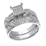 Bridal Set Engagement Ring 14k White Gold Finish