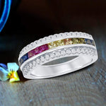 Wedding Bands Channel Set Rainbow Band Ring Channel Set Rainbow Band Ring Sterling Silver