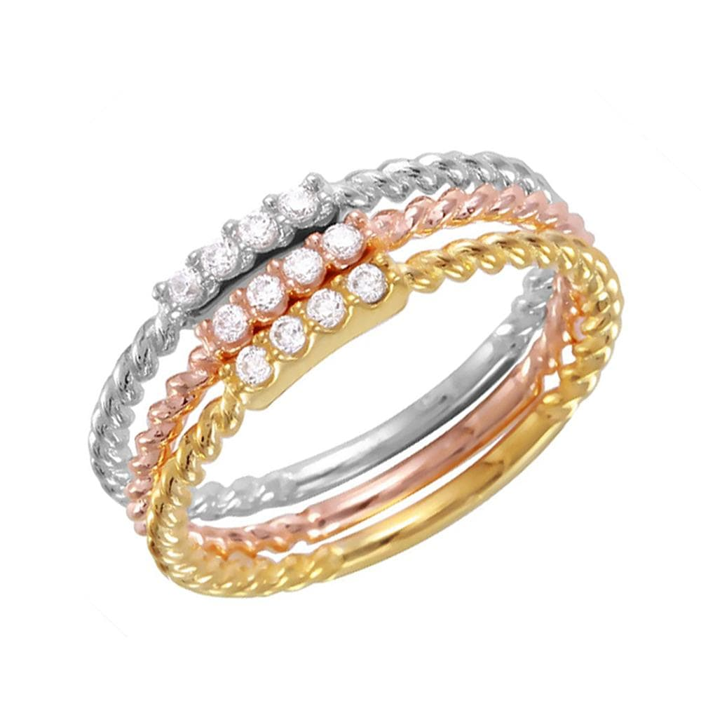 Weddings Band 14k Gold Finish Tri-Color Stackable Eternity Bands Rings