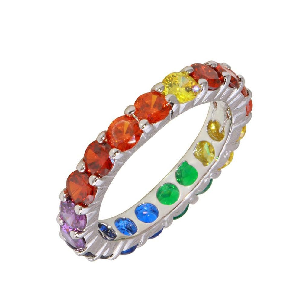 Prong Set Multi Colored Eternity Band