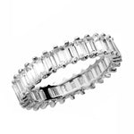 Emerald Cut Diamond 14k White Gold Finish Eternity Wedding Band Ring