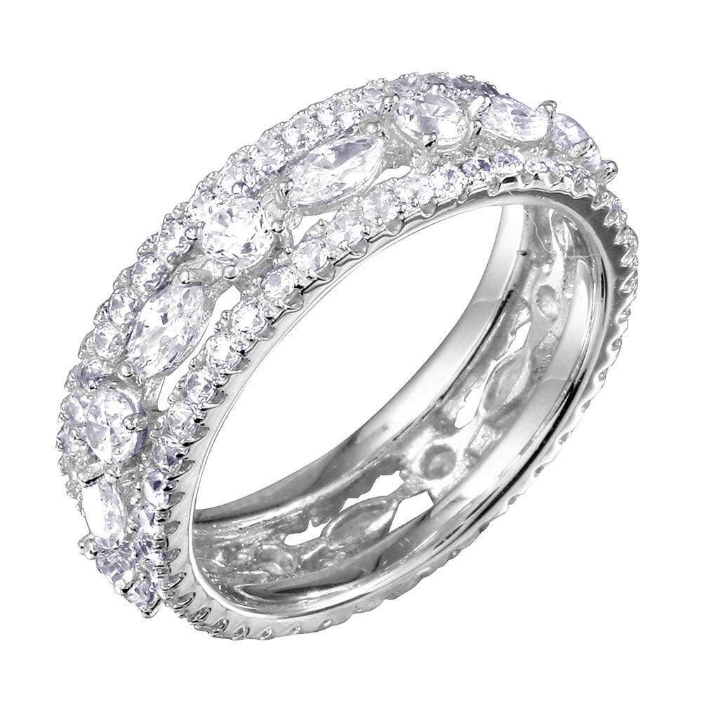 Weddings Band Full Eternity Wedding Band Ring 14k White Gold Finish