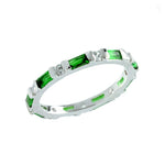 Womens Emerald Cut Diamond Stackable Full Eternity Ring