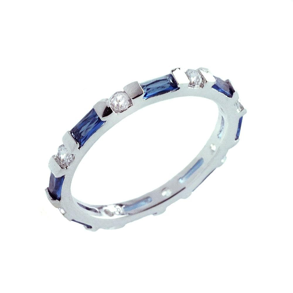 Womens Sapphire Diamond Stackable Eternity Band Ring