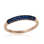 Womens Semi Eternity Blue Diamond Band Ring