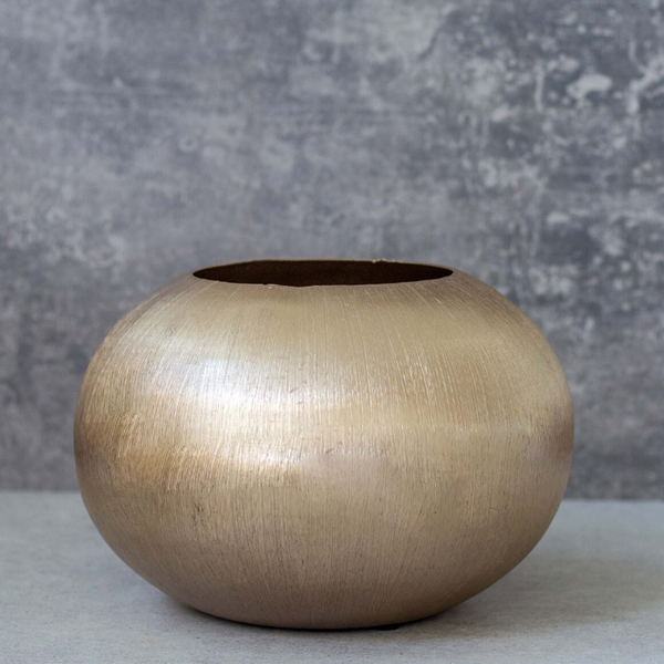 Gold Textured Oval  Vase