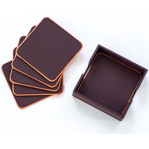 Faux Leather Coaster Set Of 4