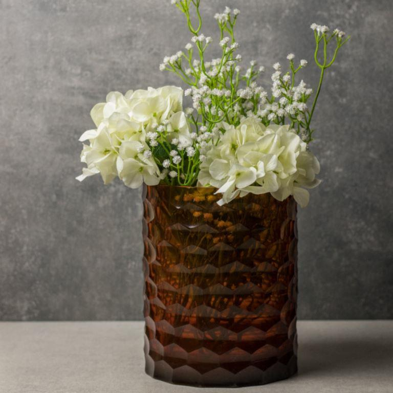 Honey Comb Amber Vase