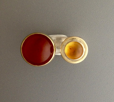 Carnelian and Citrine Ring