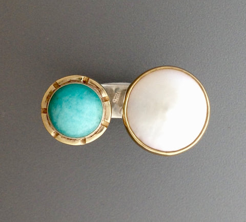 Amazonite and Pearl Ring