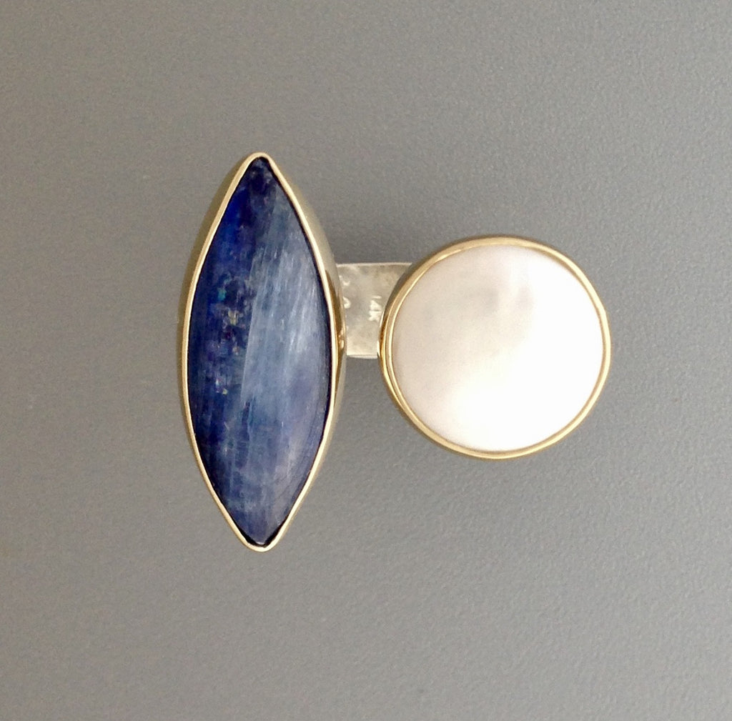 Kyanite and Pearl Ring