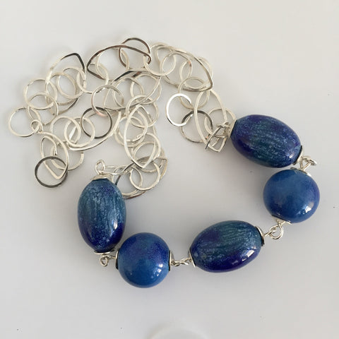 Blue Chunky Bead Necklace