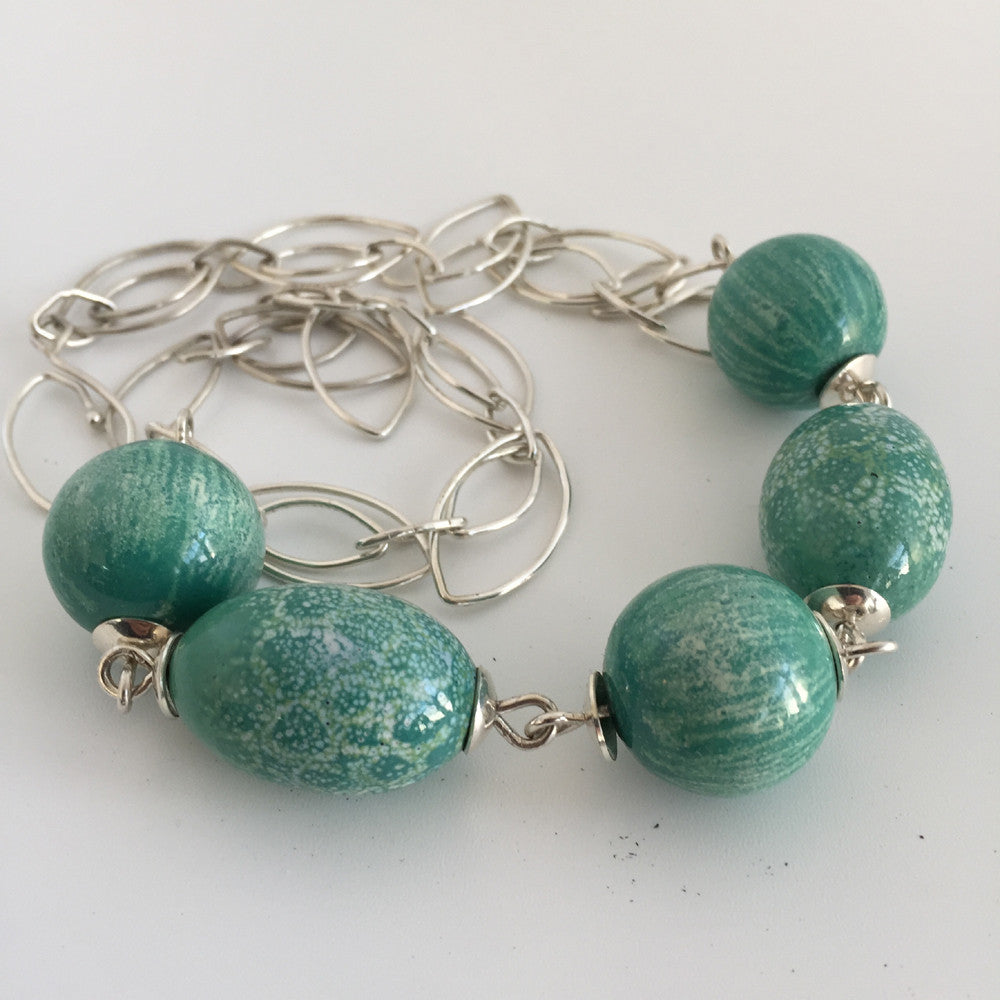 Teal Chunky Bead Necklace