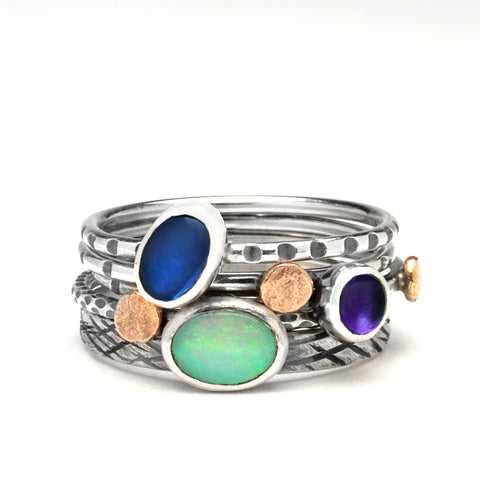 Opal Mist Stack Rings