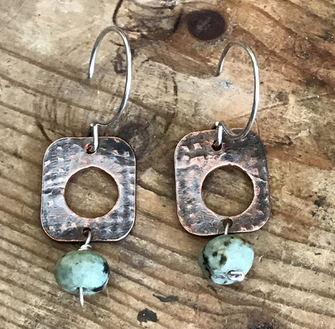 Copper Turquoise Square Earrings