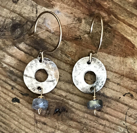 Silver and Gold Labradorite Circle Earrings