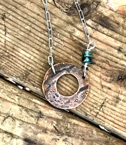 Copper Textured Circle Necklace