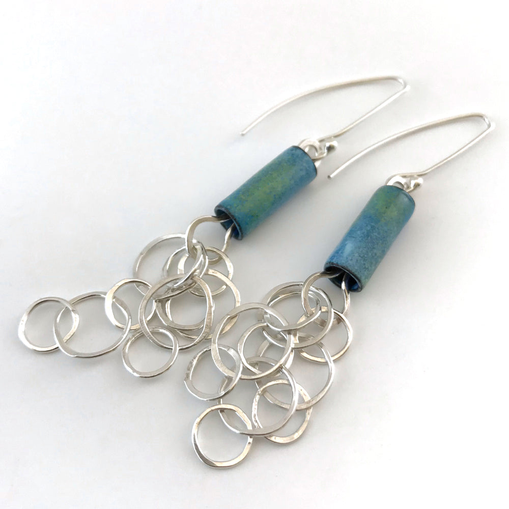 Light Blue Beads and Bubbles Earrings