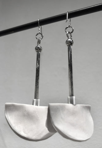 White Streaming Earrings