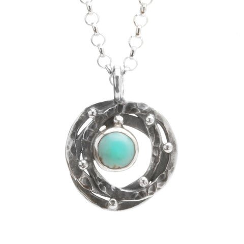 Layered Circle Pendant with Turquoise