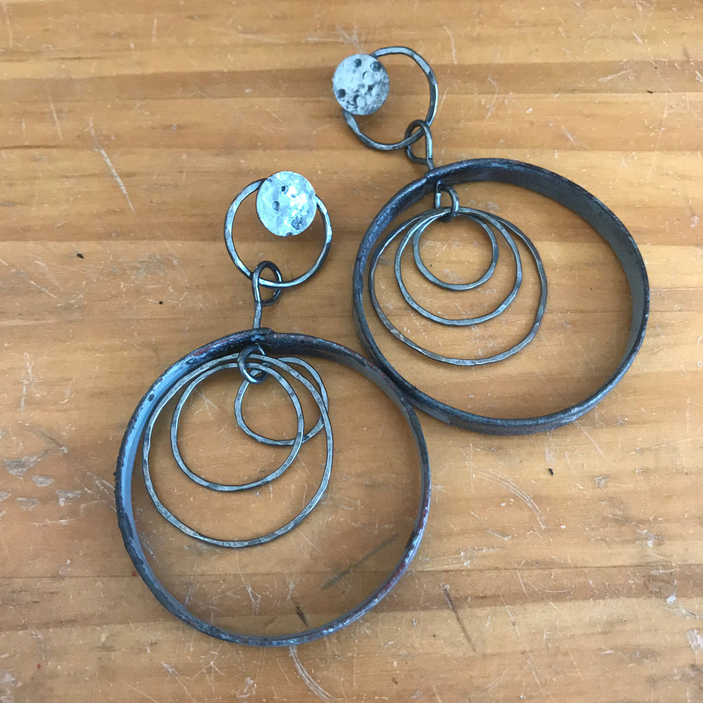 Large Enamel and Silver Hoops