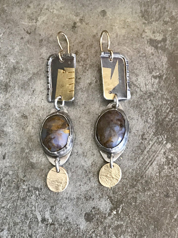 Agate, Gold and Silver Drop Earrings