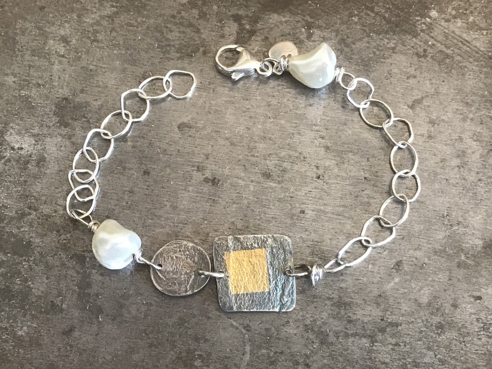 Silver, Gold and Pearl Bracelet