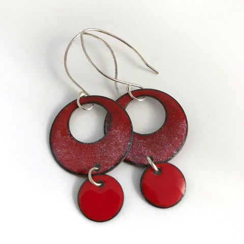 Red Enamel Drop Earrings