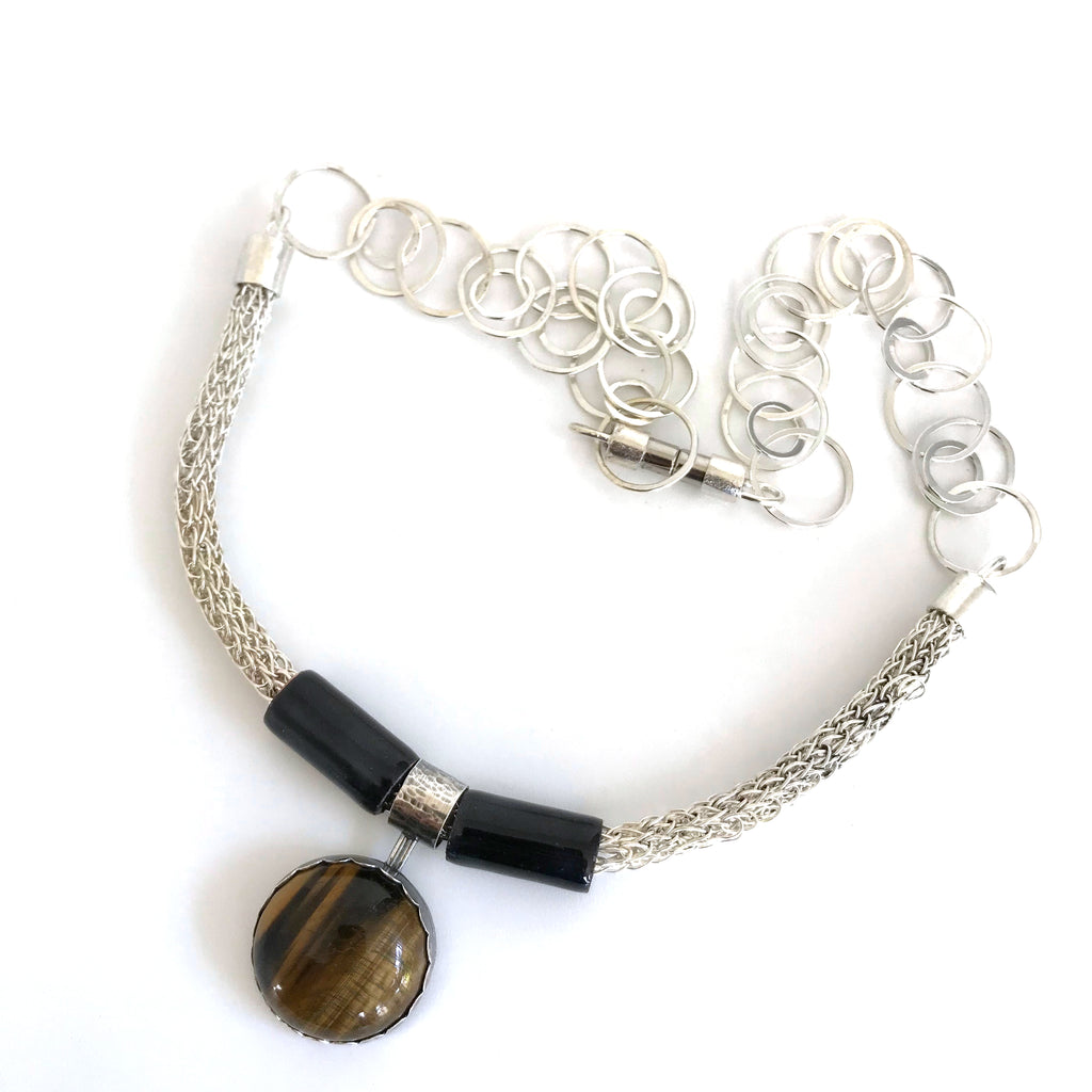 Viking Knit Tiger's Eye Necklace