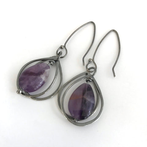 Amethyst and Silver Teardrop Earrings