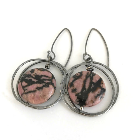 Rhodonite and Silver Disc Earrings