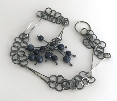 Blue Bead Cluster Necklace