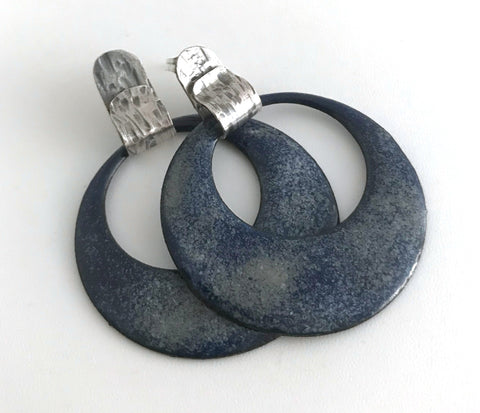 Large Navy Circle Post Earrings