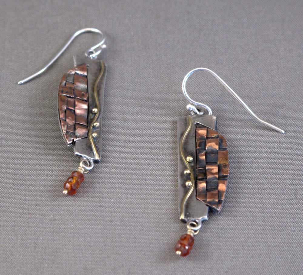Woven Copper Shield Earrings