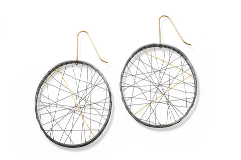 Woven Silver and Gold Earrings