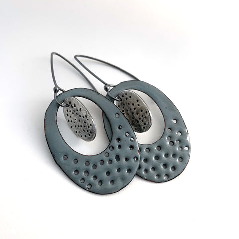 Gray Ovals Earrings