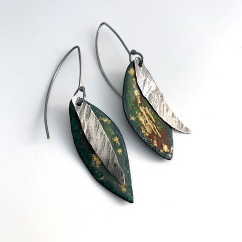 Green and Gold Leaf Earrings