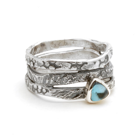 Blue Topaz Wave Ring