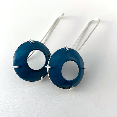 Blue Domed Prong-Set Earrings